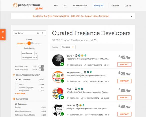people per hour - freelancer listings