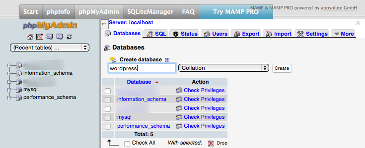 phpMyAdmin databases screen - creating a new database