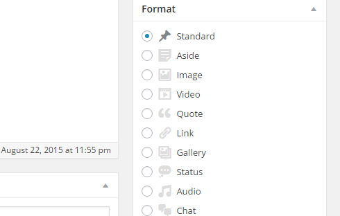 Post formats in the post editor