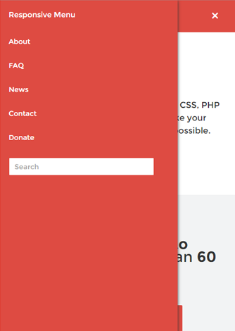 Responsive menu plugin - screenshot on mobile