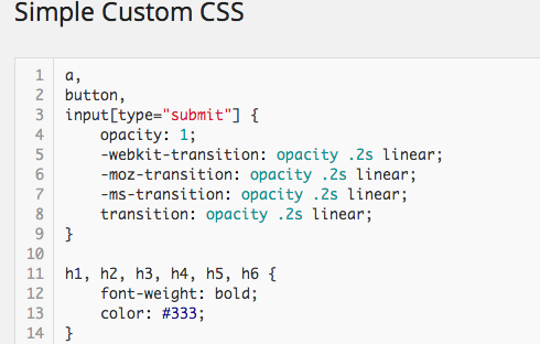 Simple Custom CSS screen - simple and easy to use