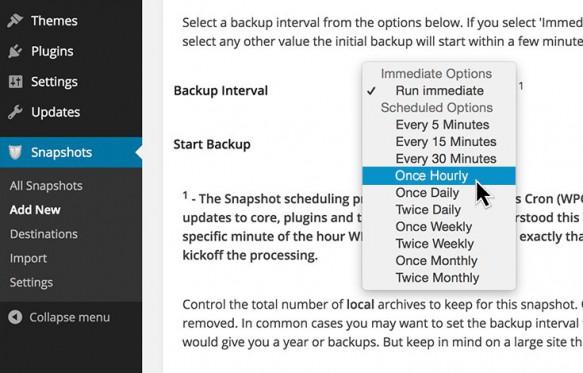 Set backup intervals easily
