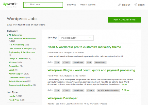Upwork website - WordPress jobs