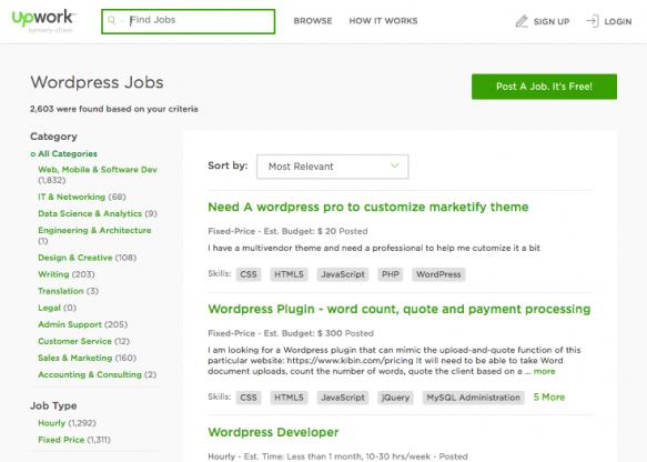 Upwork website - WordPress jobs