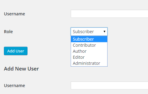 "User roles drop down box on the ""Edit Site"" page."
