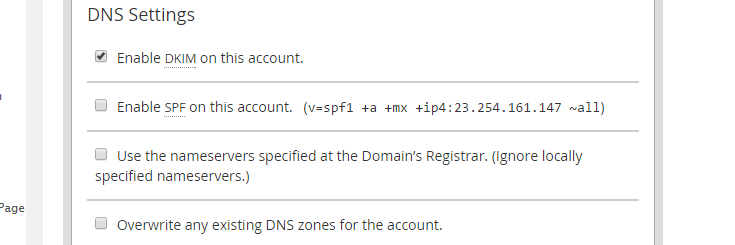 DNS Settings section