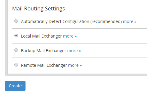 The mail routing settings