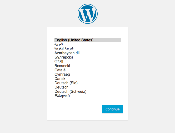 WordPress setup screens: 1 - language