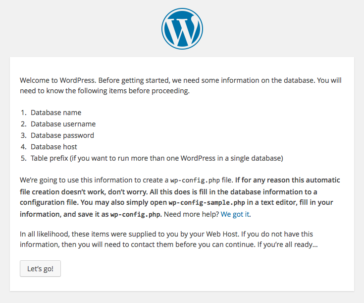 WordPress setup screens: 2 - information