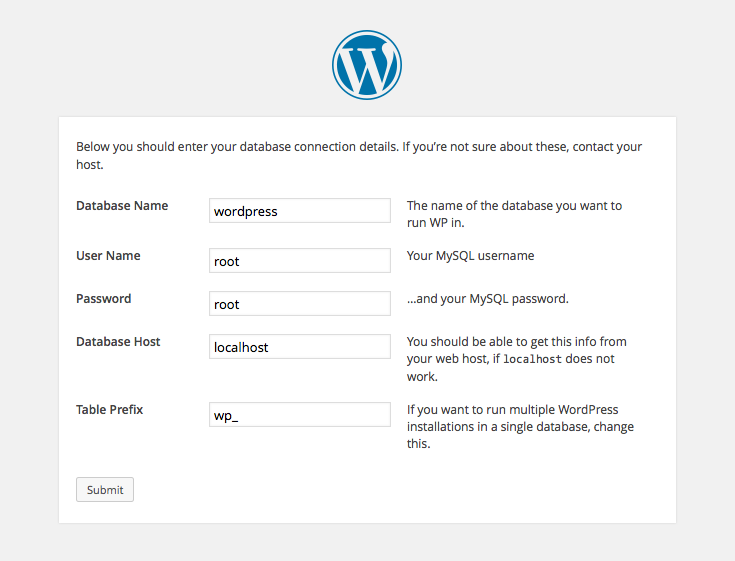 WordPress setup screens: 3 - database details