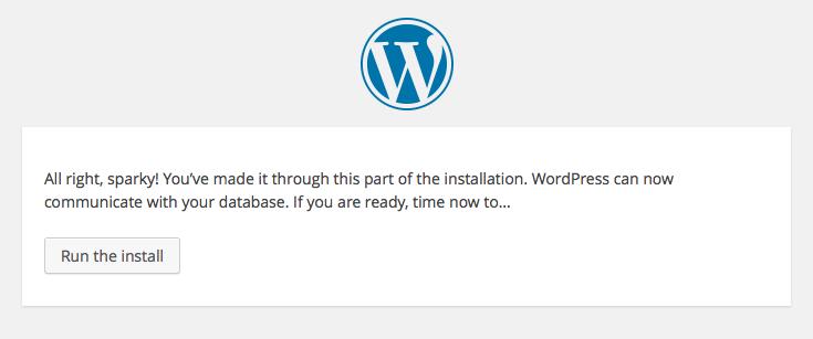 WordPress setup screens: 4 - database working