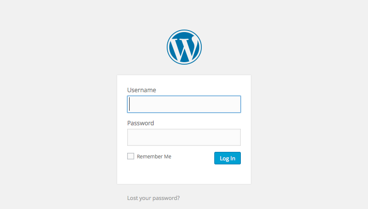 WordPress setup screens: 7 - login