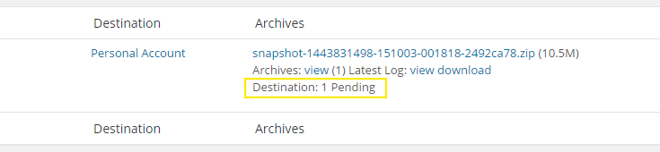 """The """"Destination"""" and """"Archives"""" columns."""
