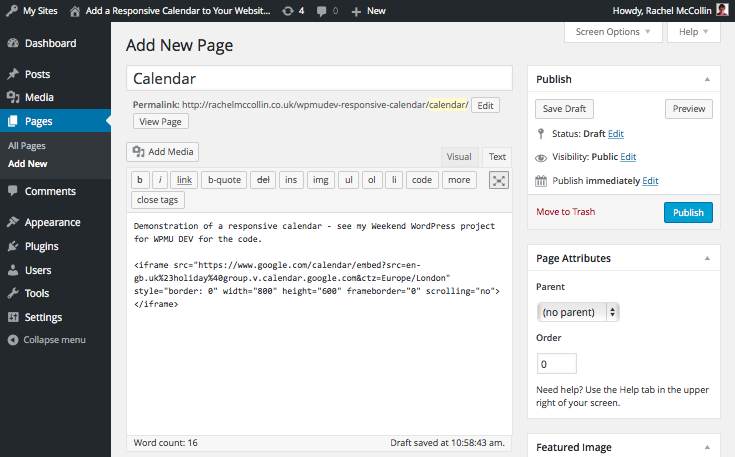 Page editing screen with calendar code added