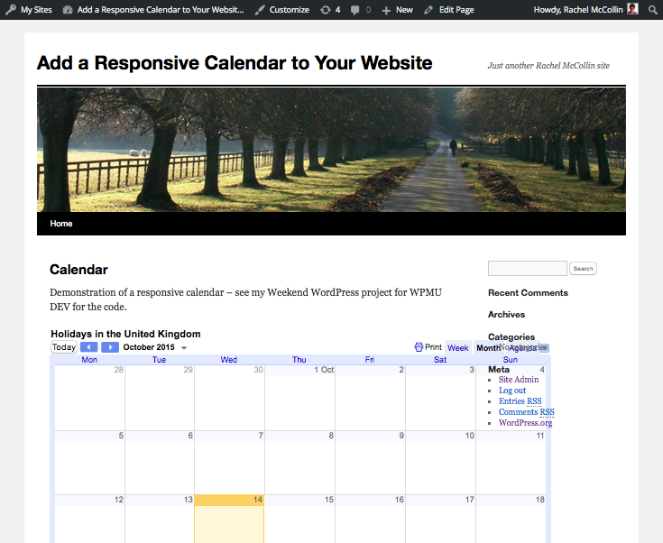 The calendar in the frontend, overlapping the sidebar