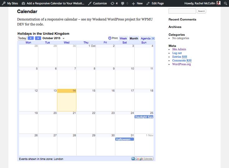 The responsive calendar doesn't overlap the sidebar