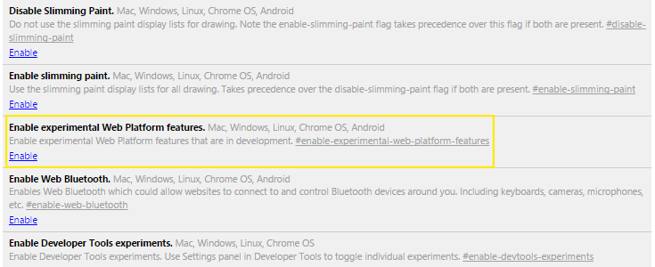 The enable experimental features option is highlighted on the Chrome flags page.