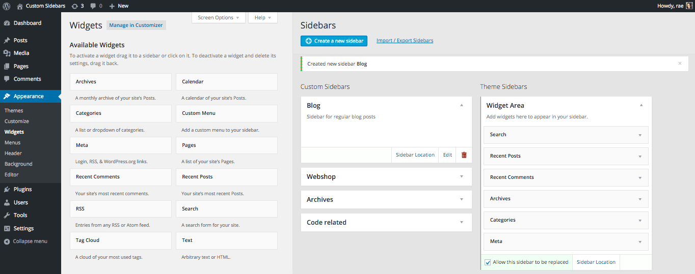 Easy access to Custom Sidebar functionality