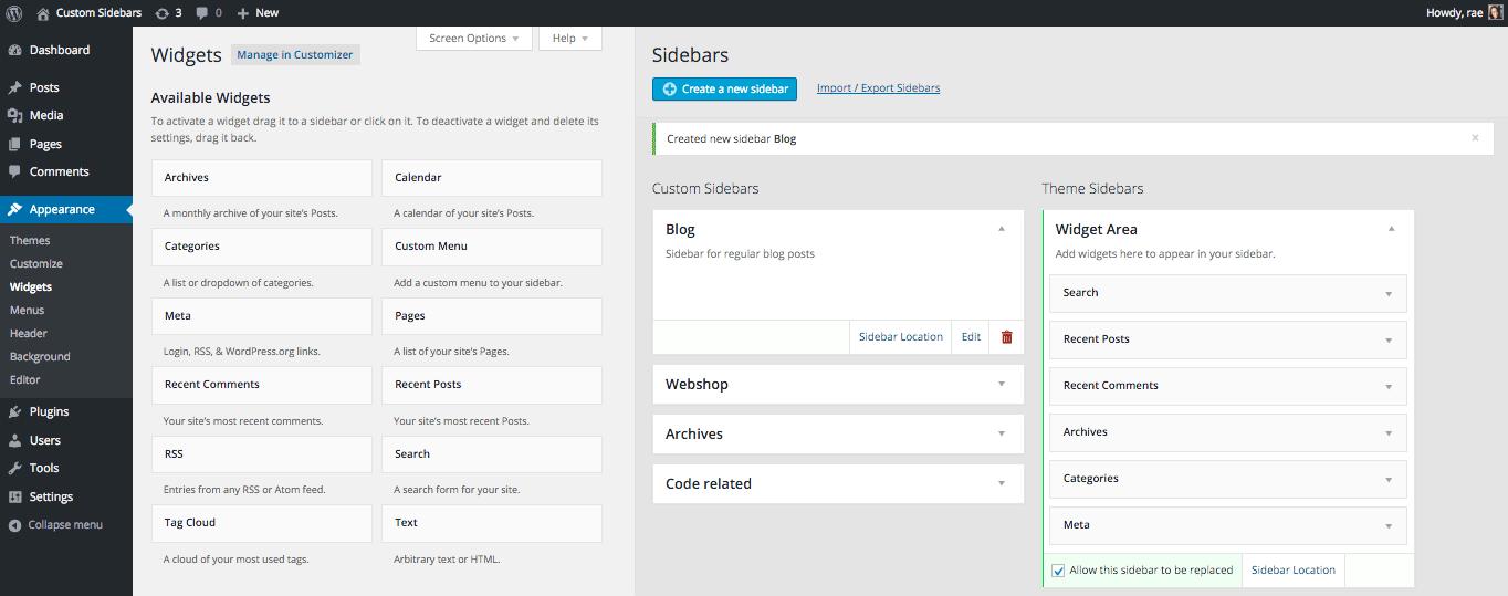 Easy access to Custom Sidebar functionality