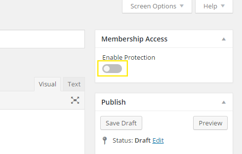 The button to enable protection on the post or page is highlighted.