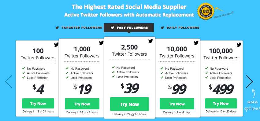 Fast Followerz use CSS3 Responsive Pricing Table's popped out columns feature.