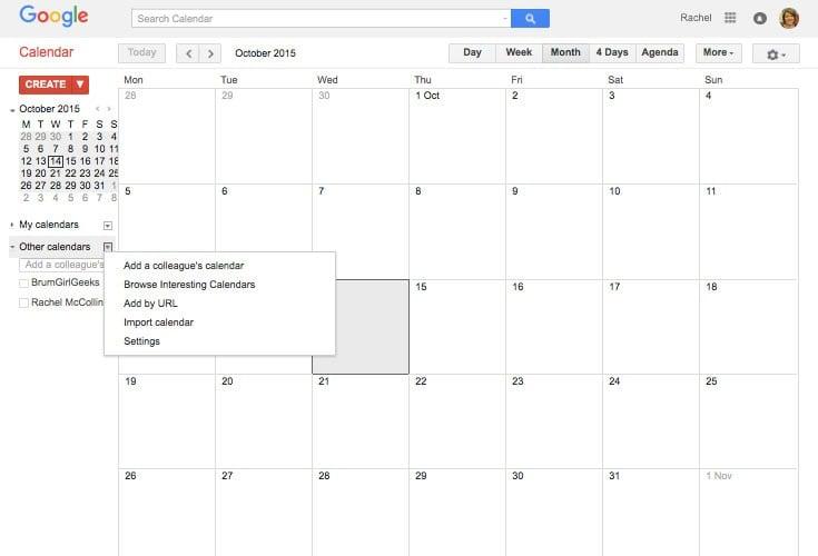 Google calendar - selecting the option to browse interesting calendars