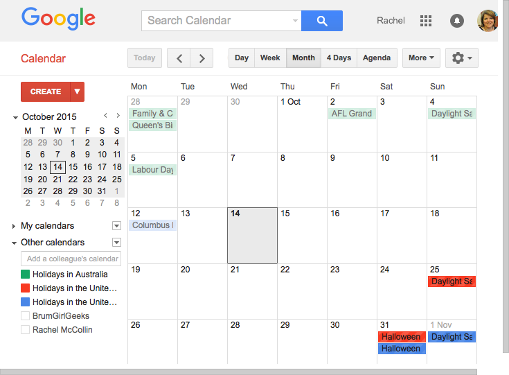 Google calendar with multiple ca;endorse visible