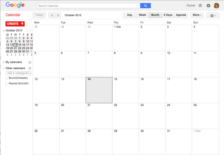 Google calendar with no calendars visible