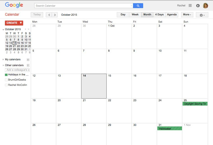 Google calendar with one calendar added
