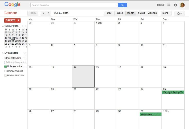 Google calendar with one calendar added