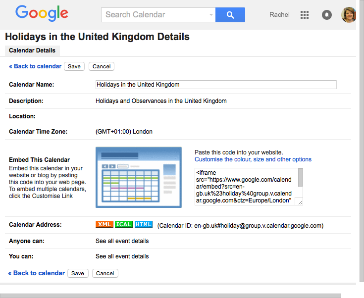 Google calendar settings screen