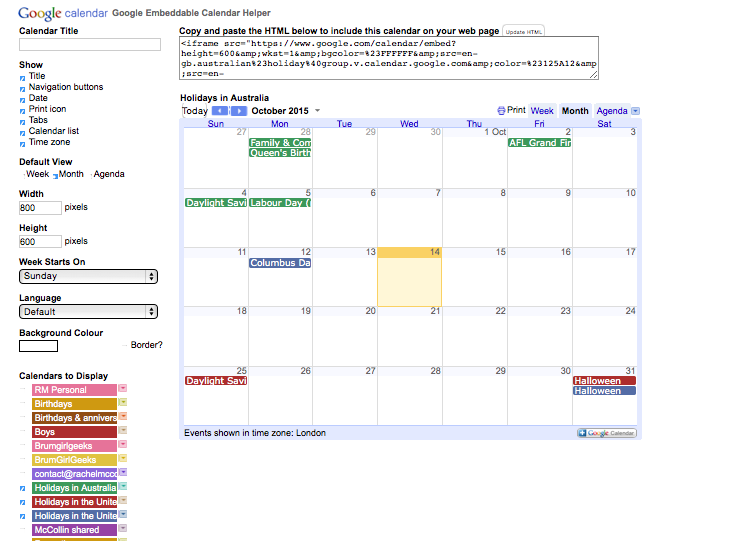 Google calendar settings with multiple calendars checked