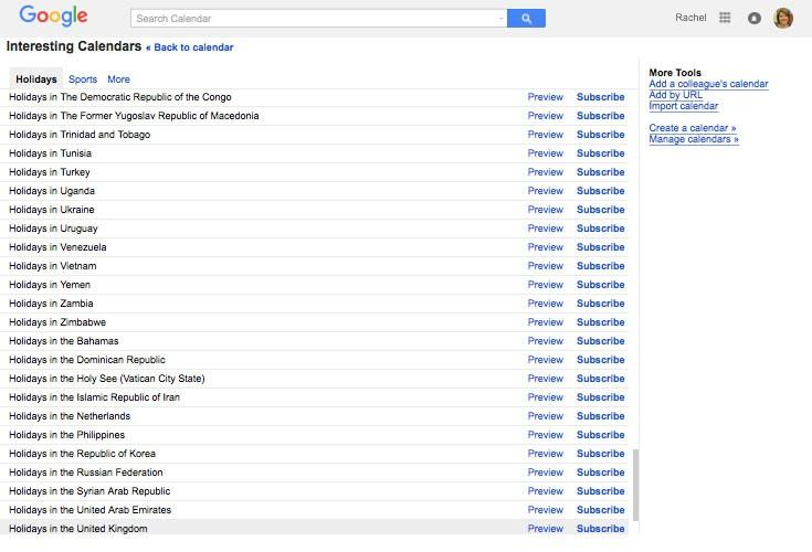 Google public calendars listing