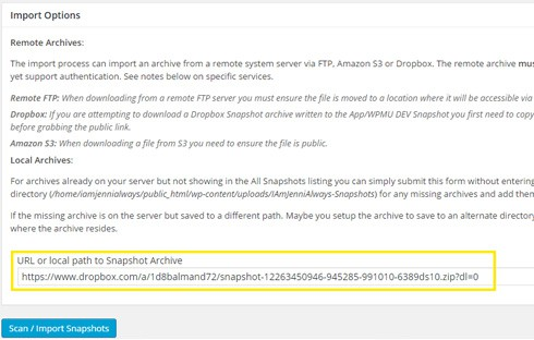 """Snapshot's """"Import"""" page."""