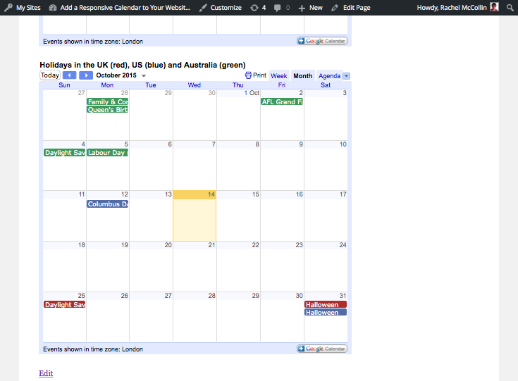 Multiple calendars in one calendar view on the site