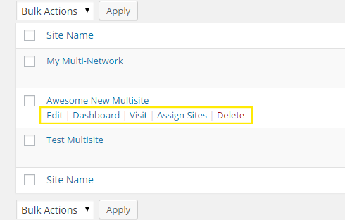 Option links appear on mouse hover over Multisite titles.