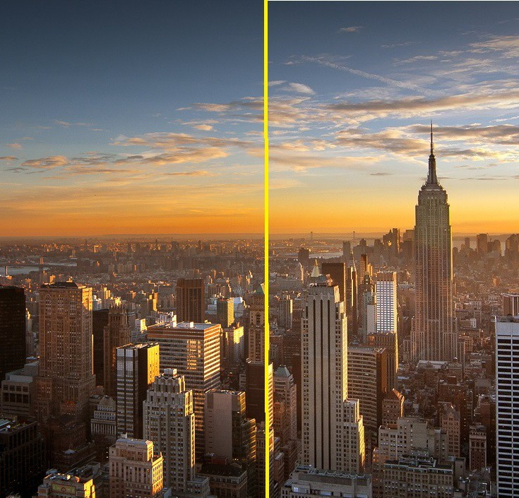 Un-compressed and compressed image of the New York skyline merged.
