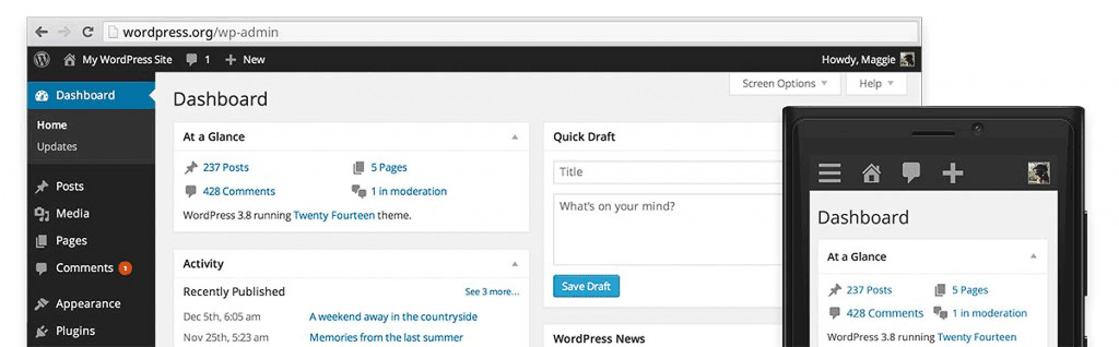 WordPress 3.8 brought a responsive admin UX.