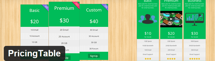 ParaTheme's Pricing Table.