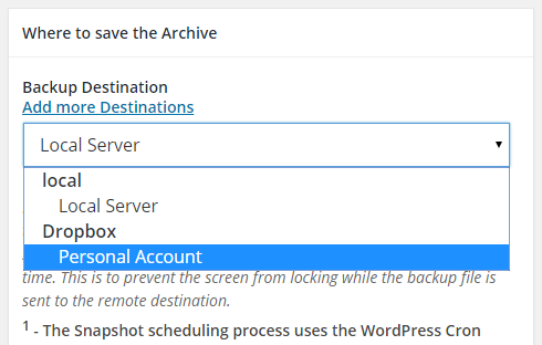 "The ""Backup Destination"" field with the drop down box clicked."