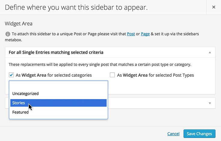 Custom Sidebars also lets you set up options for categories, post types, and archives.