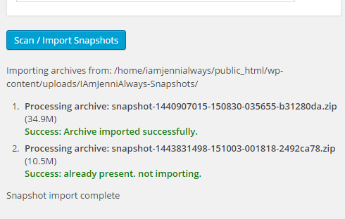 Snapshot import completed successfully.