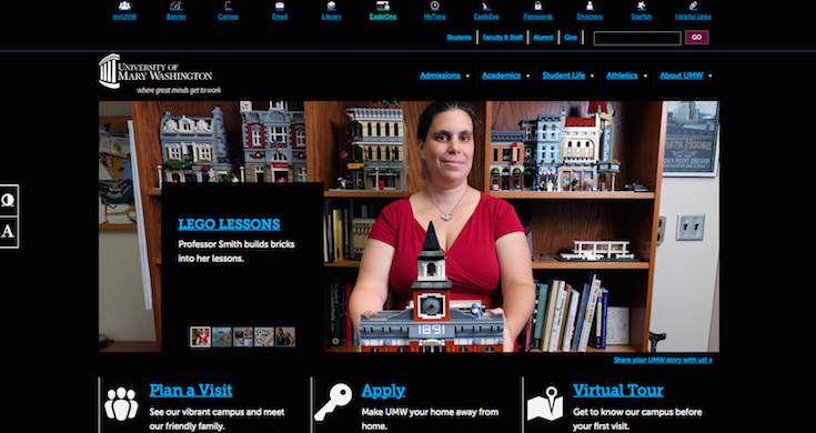 The University of Mary Washington's website lets users adjust the contrast.