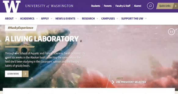 The University of Washington website.