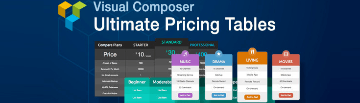 Visual Composer Ultimate Pricing Tables Add-on.