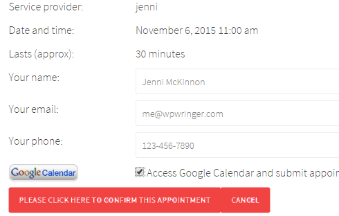 The checkbox to save the appointment to Google Calendar is selected during the booking process.