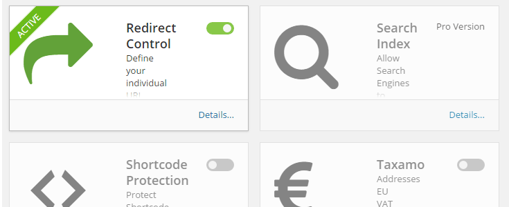 The redirect control add-on has been activated.