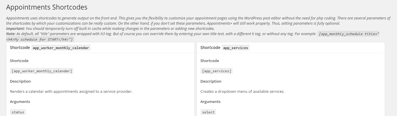 The Appointment plugin's Shortcodes page.
