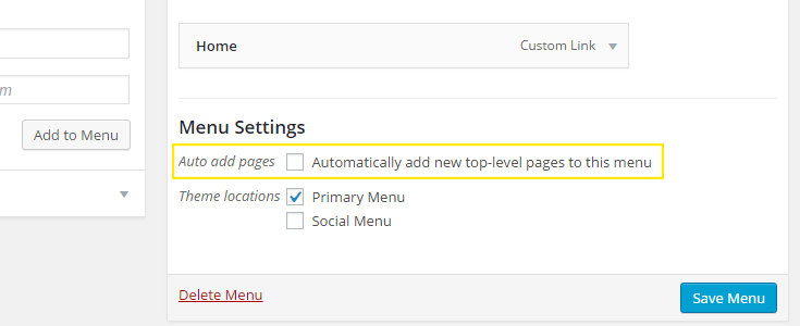The checkbox to automatically add new pages to the menu is unchecked and highlighted in the menu settings section.