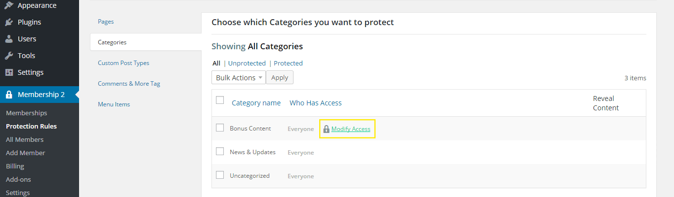 "The ""Modify Access"" link is highlighted on the settings page for category protection."